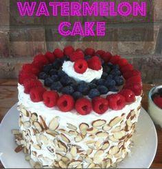 Watermeloen taart - taart zonder te bakken. Ook leuk als gezonde kindertaart.