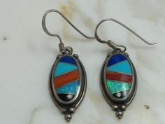 Wonderful Pair of Native American Sterling Silver Multi-Gemstone Earrings by MadJacksJewelry on Etsy