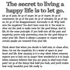 Let go, it's time for me now, choose to be happy and move on.