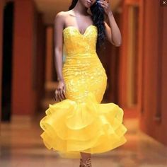 Elegant Tea Length Mermaid Prom Dresses Sweetheart Lace Appliques Tiered Skirt Cocktail party Dress Girls Formal Wear Cheap from Butterfly Love African Lace Styles, African Lace Dresses, African Fashion Dresses, Cheap Homecoming Dresses, Pageant Dresses, Dress Prom, Wedding Dresses, Bride Dresses, Wedding Outfits
