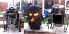 An R2D2 or Darth Vader wood-burning stove would look very cool on your patio. Your friends will want one. The Force will be with you! You start with an old propane bottle then work some magic on it.