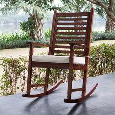 Amazon.com : Belham Living Eucalyptus Wood Rocking Chair with Cushion - Walnut : Patio, Lawn & Garden
