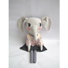 CLOTH AND THREAD Elodie the Elephant  --- Elodie the Elephant, hand made by CLOTH AND THREAD, is not your ordinary soft toy. It is uniquely designed and will follow your child through his/her life. Many consider this a collectors item, others see it as the final touch for creating that perfect kid's bedroom. Elodie the Elephant is approximately 56 cm tall. Not recommended for children under the age of 3.
