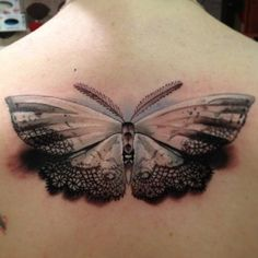 moth&shadow watercolor tattoo on upper back - 3D, lace, feather