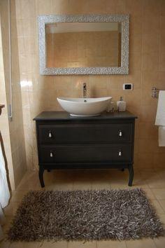 ikea hacker -- dresser into bathroom vanity with vessel sink on top + storage underneath -- LOVE - Edland dresser Ikea Hacks, Dresser Vanity Bathroom, Ikea Vanity, Ikea Dresser, Bathroom Drawers, Dresser Storage, Dresser Top, Bathroom Renos, Furniture Makeover