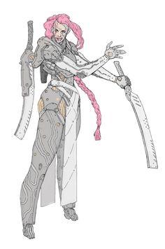 ArtStation - Brain Dump, by Manuel Augusto Dischinger Moura More Characters here. Cyberpunk Character, Cyberpunk Art, Character Concept, Character Art, Concept Art, Reference Manga, Arte Ninja, Robot Art, Robots