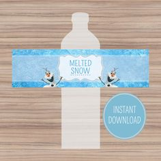 Disney Frozen Bottle Labels - Instant Download - Melted Snow Frozen Water Bottle Labels - Frozen Party