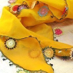 Turkish OYA Lace - Otantic scarf -Mustard by DaisyCappadocia on Etsy