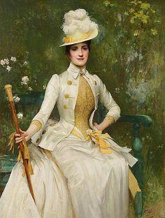 Portrait of Mrs Lockett Agnew, Sir Samuel Luke Fildes, 1887 . 1880s Fashion, Edwardian Fashion, Vintage Fashion, Victorian Portraits, Victorian Paintings, Historical Costume, Historical Clothing, Fashion History, Fashion Art