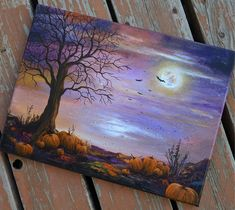 Halloween Canvas Paintings, Scary Paintings, Fall Canvas Painting, Moon Painting, Halloween Painting, Autumn Painting, Painting Edges, Halloween Art, Painting & Drawing