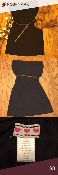 Black strapless dress Fun little black dress, you can dress it up or just wear it plain! (The belt came with it but I sometimes took it off!) Ask me if you have any questions! Dresses Strapless