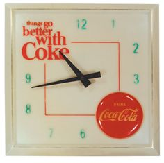 """Clocks like this in businesses that sold Coke. Original pinner Louise LeFevre said """"Coca Cola clock from my dad's store in San Francisco. Circa 1960s."""""""