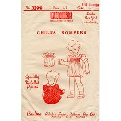 1940s Infant's Baby Romper Suit Vintage Sewing by BessieAndMaive, $10.00