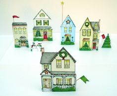 Christmas village paper houses DIY PDF. via Etsy