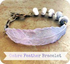 Jewelry Making Bracelets Ombre Feather Bracelet Tutorial from Humblebeads Feather Jewelry, Amber Jewelry, Dainty Jewelry, Cute Jewelry, Jewelry Findings, Beaded Jewelry, Handmade Jewelry, Silver Jewelry, Craft Jewelry