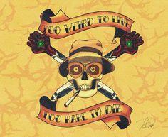 Hunter S Thompson tattoo flash