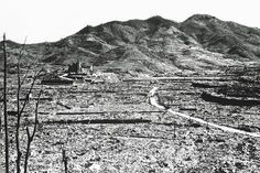 32 The only recognizable structure remaining is a ruined Roman Catholic Cathedral in background on a destroyed hill, in Nagasaki, Japan in (NARA) # Nagasaki, Hiroshima, World History, World War Ii, Rare Historical Photos, Weapon Of Mass Destruction, War Image, United States Army, Fotografia