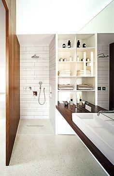 white tiling / timber