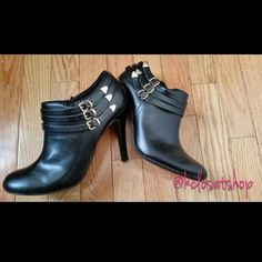 FINAL $ - Black Ankle Bootie Pumps ⬇(Reduced) Bundle and Save!!  These are heeled ankle booties with a 3-buckle gold detail on the outward facing side, and a zipper on the inward facing side.   **It is a bit snug so it is better to purchase if you are a US 7.5 or a shy US 8.  **Worn 1 Time**  Your Savings : 43%+ Fioni Shoes