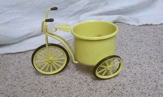 Metal tricycle planter vintage yellow metal tricycle catch all yellow metal miniature trycycle decor home decor tricycle