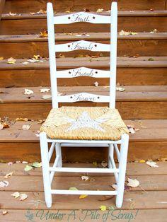 Simple Reverse Stenciled Ladder Back Chair. #homedecor