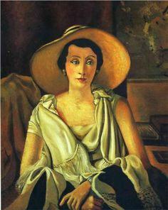 André Derain (French: 1880‑1954) - Portrait of Madame Paul Guillaume with a large hat - 1928