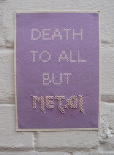 I haven't done cross stitch in years but I just might have to make this for the house. Metal, A5 Digital print with cross stitch
