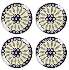 Enjoy your favorite sweet treats on our gorgeous set of dessert plates. Decorated with blue and green floral designs, these handmade dishes add style and charm to any tabletop. AzonAuthority - Single Site License Profit Builder is the Ultimate LIVE Builder and Profit Generator for WordPress,... see more details at https://bestselleroutlets.com/home-kitchen/kitchen-dining/dining-entertaining/plates/product-review-for-polish-pottery-peacock-feathers-handmade-salad-dessert-plate