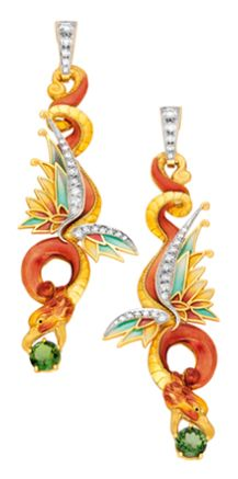RED DRAGON AR-229. FAUNA. 18 carat yellow gold earrings with brilliant-cut diamonds, two round-cut green tourmalines and fired enamel.   --Bagués Masriera-- Barcelona Jewellers since 1839