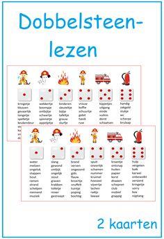 Dobbelsteenlezen. Goed te gebruiken bij thema 12 van Lijn 3. Learn Dutch, Kids Education, Spelling, Study, Teaching, Tips, Holland, Dyslexia, Early Education