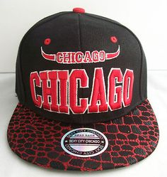 Chicago Bulls Snapback Hat Baseball Cap Animal Skin Style Black Red | eBay
