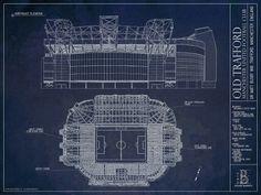 Ballpark Art Blueprints. Old Trafford, Manchester.