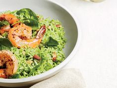 Shrimp and Pesto-Rice Salad | Serve this brand-new twist on the old rice salad warm, or make it ahead, chill, and serve cold.