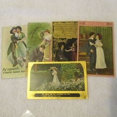 5 Early 1900s Romantic Couple Valentine Postcards / WW1 Valentine Postcard by AuctionAddict38 on Etsy