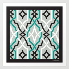 classic modern lattice in black, grey, white & teal Art Print by aygeartist - $15.60