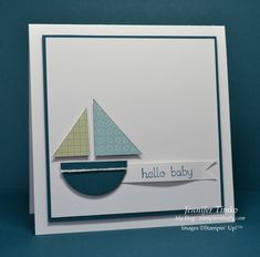 "To reinvent the wheel (since all the measurements aren't given on the website) you need 1 3/8"" punched circle from cardstock, 3/4"" square & 1"" square from decorative paper.  Cut each in half to make 2 sailboat cards."