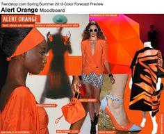 Alert Orange Moodboard.  COLOR SPRING 2013 WOMEN'S TREND REPORT TRENDSTOP.COM