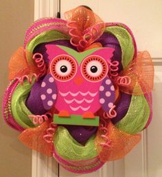 Pink Whimsical Owl Deco Mesh Wreath by DecoMeshFrenzy on Etsy, $30.00