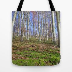 Mossy fall forest Tote Bag A lot of moss on a hillside in the forest. The moss is a bit covered by autumnally foliage. On top of the hill (behind the uppermost trees) you can see the top of a castle ruin, which some people already know, because it's one of my most popular pics here: https://society6.com/product/gate-to-autumn_print#1=45     Nature, fall, autumn, trees, beeches, moss, green, white, blue, sky, walls, wood, leaves