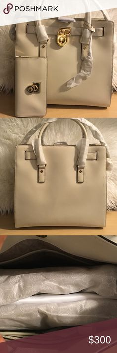 Michael kors Hamilton tote and wallet Ecru color , authentic, new with tags , dust bag included , no lowballing please.. offers in comments will be ignored 💕 Michael Kors Bags Totes