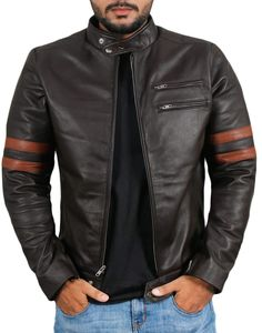 Men Genuine Lambskin Black Leather Brown Stripped Jacket Slim fit Biker Motorcycle Design jacket Brand Leather Edges Country/Region of Manufacture Pakistan Running Size USA true Size Material leath… Lambskin Leather Jacket, Leather Men, Black Leather, Jacket Men, Jacket Style, Leather Fashion, Mens Fashion, Motorcycle Leather, Rockers