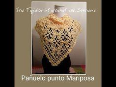 CHAL O PANUELO PUNTO MARIPOSA A CROCHET - YouTube Crochet Crocodile Stitch, Crochet Shawl, Knit Crochet, Crochet Stitches Patterns, Stitch Patterns, Crochet Tablecloth, Crochet Fashion, Shawls And Wraps, Knitting