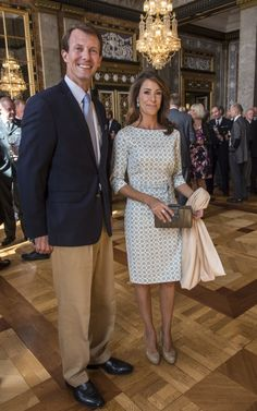Princess Marie and Prince Joachim in the Alexander Hall at Christiansborg Castle. Princess Marie sported a blue and white Elise Gug dress wh...