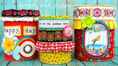 "Trio of Upcycled Storage Tins -- ""Pretty Organized"" Collection"