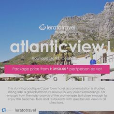 #Repost @leratotravel with @repostapp.  Spend your weekend in this stunning boutique Cape Town hotel accommodation is situated along side a greenbelt/nature reserve in very quiet surroundings. Far enough from the noisy crowds of the promenade but close enough to enjoy the beaches bars and restaurants with spectacular views in all directions. Atlanticview Cape Town Boutique Hotel is perfectly positioned high atop fashionable Camps Bay South Africas corniche with magnificent 180 degree views…