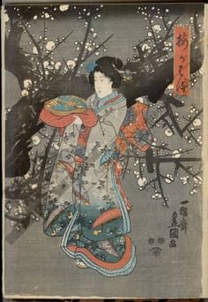 Utagawa Kunisada Title:Plum blossom spring Date:from 1847 to 1852
