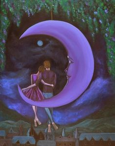 The Moonlit Chat Archival Print 8 x 10  Romance Series by TingYuen, $39.00