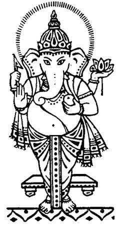 Hindu Elephant Black and White | Ganesha Tattoo Black and White