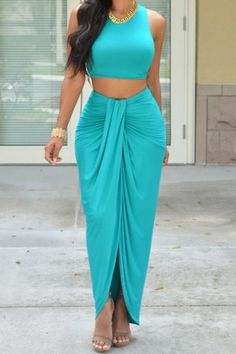 Valerie Teal draped two-piece set from Chic Couture, keeps you looking great. Beauty And Fashion, Look Fashion, Passion For Fashion, Womens Fashion, Mode Outfits, Mode Style, Women's Dresses, Dress Outfits, African Fashion