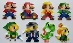 Super Mario Maker Costumes Perler Beads by kamikazekeeg